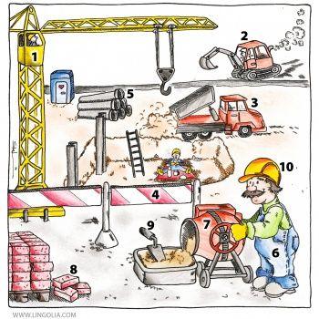 Le chantier de construction 1. la grue 2. la pelleteuse 3. le camion benne 4. la clôture 5. le tuyau (les tuyaux) 6. l'ouvrier du bâtiment (m) (les ouvriers du bâtiment) 7. la bétonnière 8. la brique 9. la truelle 10. le casque
