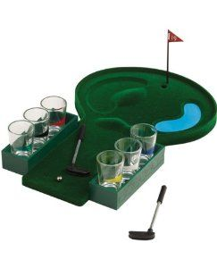 Golf Drinking Game by PGA Tour. $29.99. Introducing...The Golf Drinking Game from Forum Novelties! Now that you have finished the round of your life, it's time for the 19th hole! This miniature golf drinking game offers a sand trap and water hazard, and is the ideal way to end the perfect round. Make a hole in one and everybody drinks! Make par in two strokes and assign a shot! Hole in three and you do a half a shot. Double bogie and you do a shot! Get ready to take ...