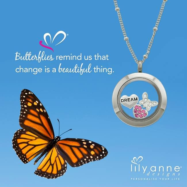 {Butterflies remind us that change is a beautiful thing}  Who's loving the new change of design on our website?   www.lilyannedesigns.com.au/meganelliott  #LilyAnneDesigns #PersonalisedLockets #ChangeIsGood