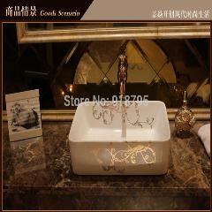 [ $53 OFF ] Porcelain Bathroom Rectangular Wash Basin Lavabo Counter Top Basin Hand Painting Art Wash Vessel Jy-Xptp370