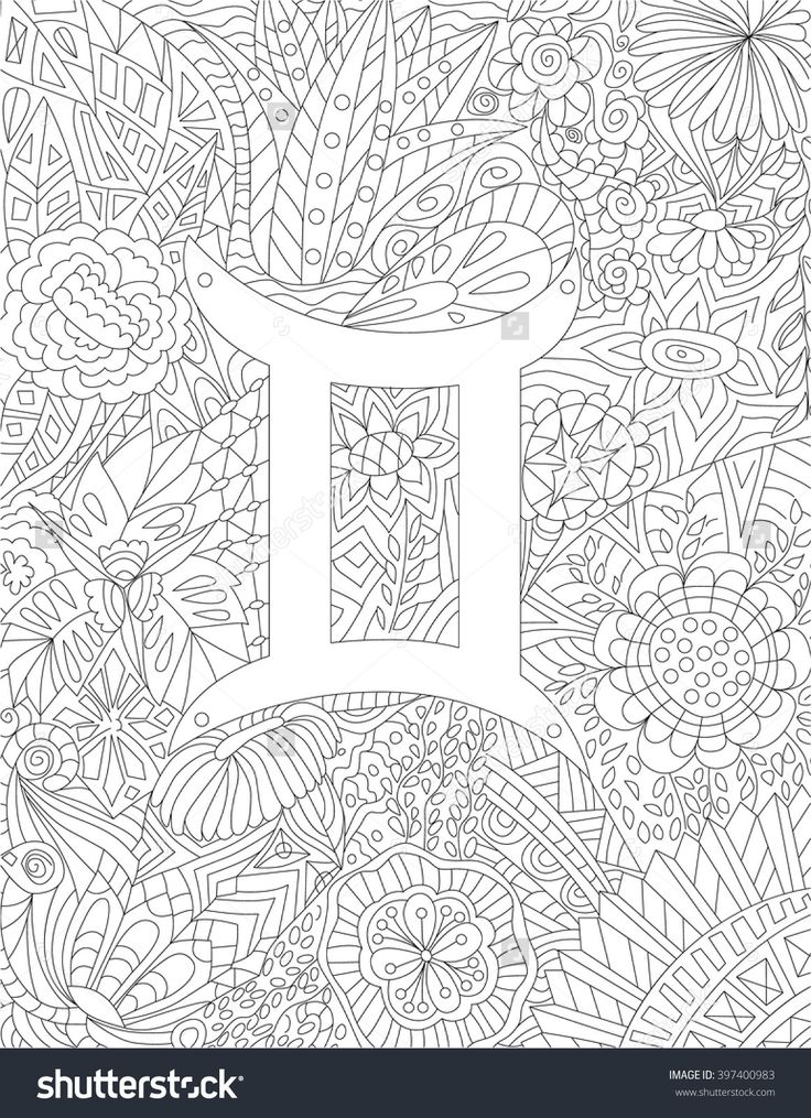 17 best images about adult colouring zodiac signs on for Gemini coloring pages