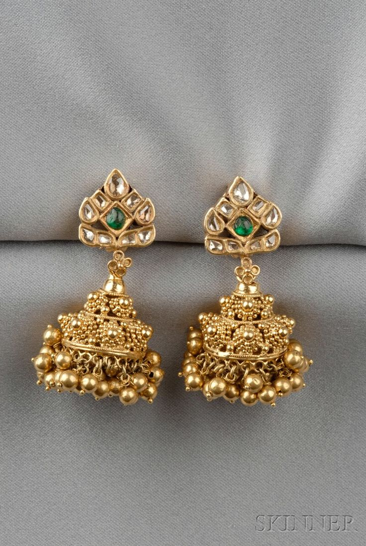 21kt Gold Gem-set Earpendants, India, each rose-cut diamond and emerald top suspending a bead tassel, 25.8 dwt, lg. 1 7/8 in.