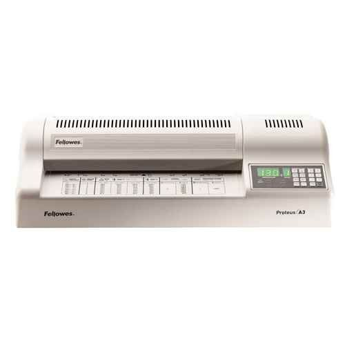 """Fellowes® - Proteus 125 Laminator, 13"""" wide, 10mil Maximum Thickness - Sold As 1 Each - Designed for professionals with high-volume needs. Fellowes 5709501 Proteus 125 Laminator, 13"""" wide, 10mil Maximum Thickness. Designed for professionals with high-volume needs. Laminates documents and mounting board up to 1/8"""" thick, with adjustable speed and temperature settings. Six-roller machine has two heated rollers and laminates without a carrier in 15 seconds. Features digital LED control…"""