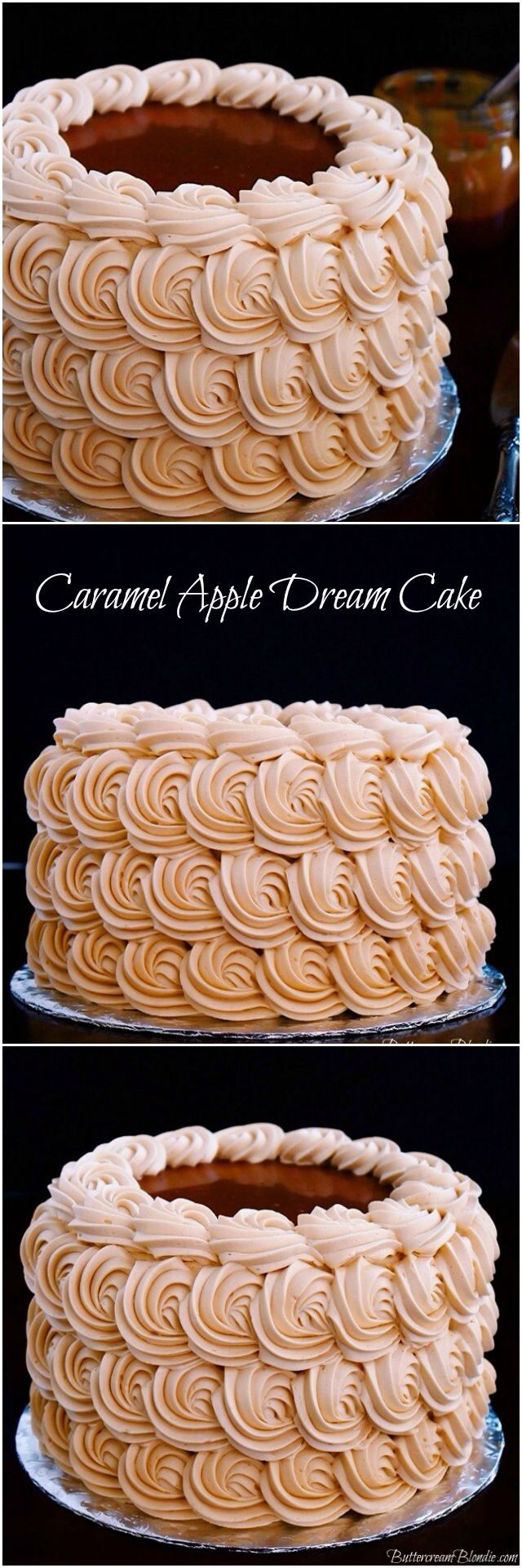 Caramel Apple Dream Cake - incredible apple spice cake filled with luscious caramel frosting! | ButtercreamBlondie.com