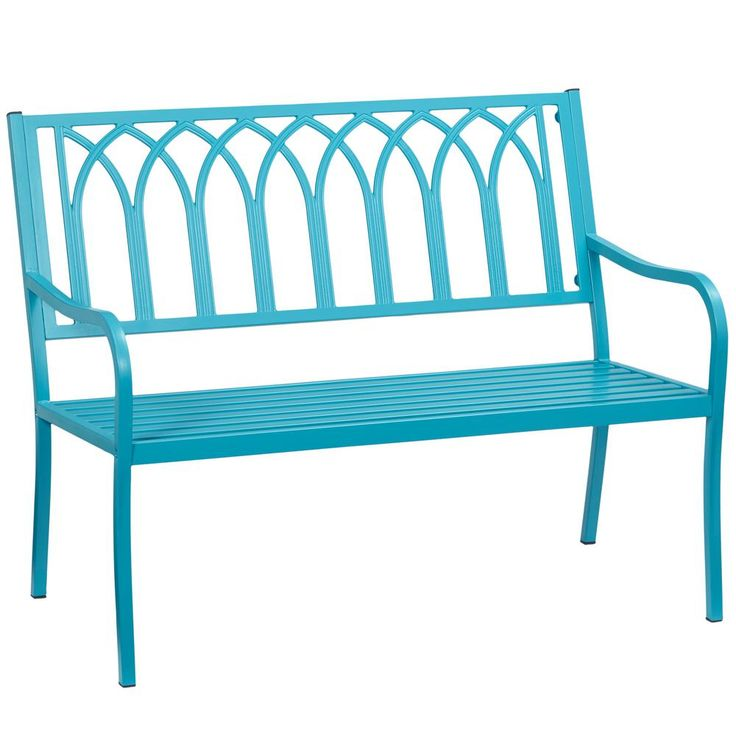 Hampton Bay Isabella Turquoise Metal Outdoor Bench