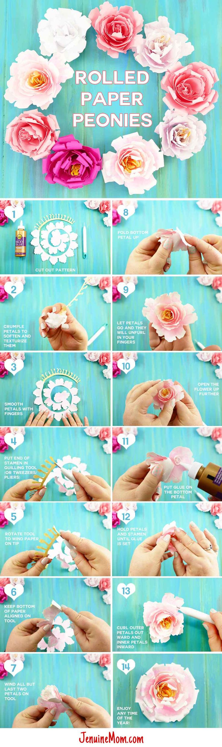 Pretty! How to make a paper peony -- includes free cutting files and a tutorial.