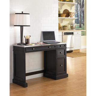 @Overstock - Traditions Stainless Steel Utility Desk - This black finish utility desk features stainless steel desktop and brushed nickel hardware. The front center-drop style drawer allows for an optional place to store your keyboard when in or out of use, and helps keep clutter off your desk.  http://www.overstock.com/Home-Garden/Traditions-Stainless-Steel-Utility-Desk/6539210/product.html?CID=214117 $306.98