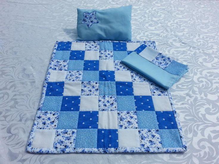 Dolls Quilt Set - Blue Small Squares