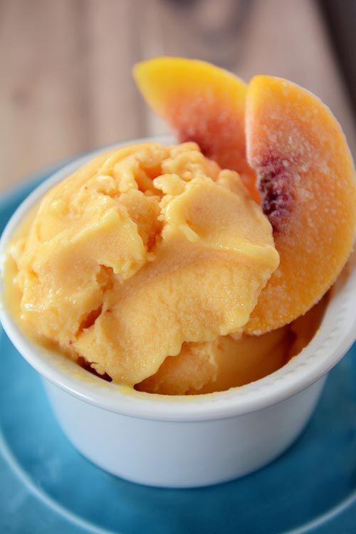 Peach Frozen Yogurt -     16 ounces frozen peaches (about 4 cups),     1/4 cup honey or agave nectar,     1/2 cup lowfat plain yogurt,     2 teaspoons fresh lemon juice