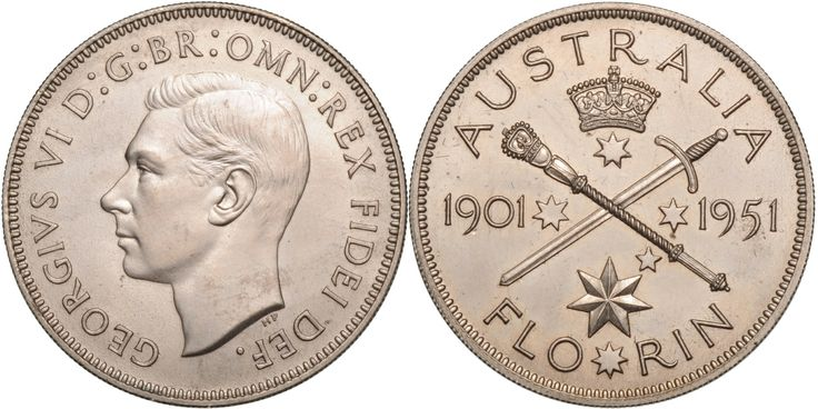 1951 Royal Mint Jubilee Florin, a proof or pattern struck in Cu/Ni with fine grained or milled edge, exceedingly rare with perhaps only four struck aFDC.  Lot: 1398. Estimate: $35,000