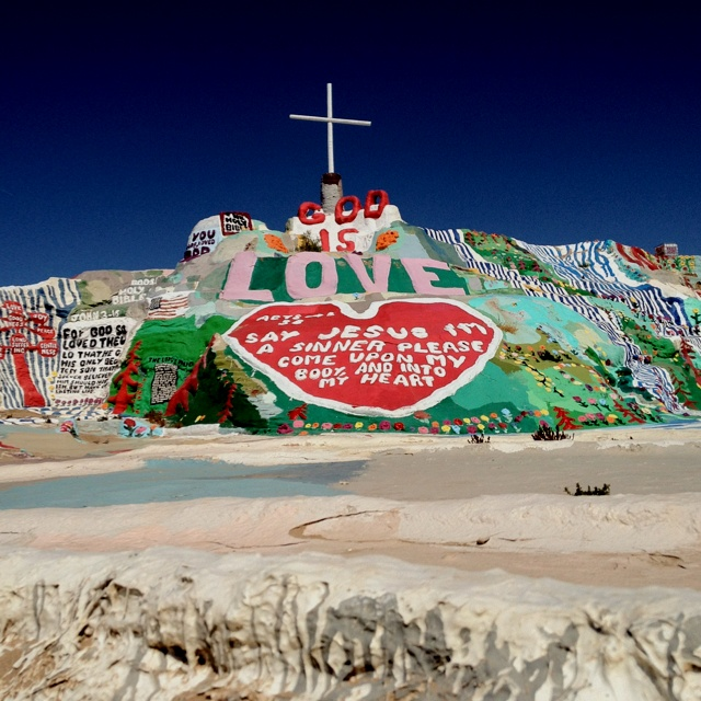 Salvation Mountain - Slab City, CA 8 years ago I edited a documentary on this amazing site I'm just now visiting it in person. Leonard is in the hospital getting his cataracts taken care of, if you're curious.