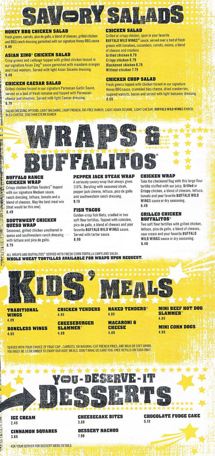 buffalo wild wings menu - Google Search