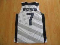 2012 London Olympics Team USA Russell Westbrook #7 White Basketball Jersey [E969]