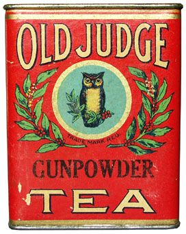 Vintage Old Judge Gunpowder Tea Tin. Blend of Oriental Teas, Green Loose. Produced by David G. Evans Coffee Co. St. Louis. by teacaddy.czi.cz