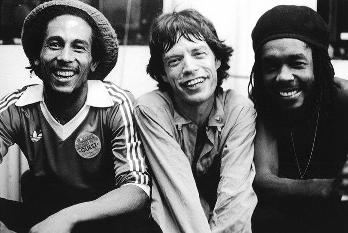 Bob Marley, Mick Jagger and Peter Tosh pose backstage at a Rolling Stones concert at the Palladium in New York, United States, 19th June 1978