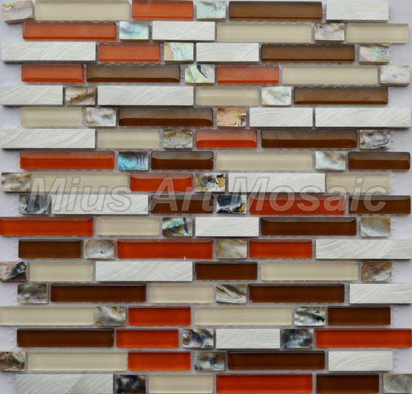 Kitchen Backsplash Red Glass Mosaic Mixed Shell Tile Metal Tile Tile Backsplash Designs