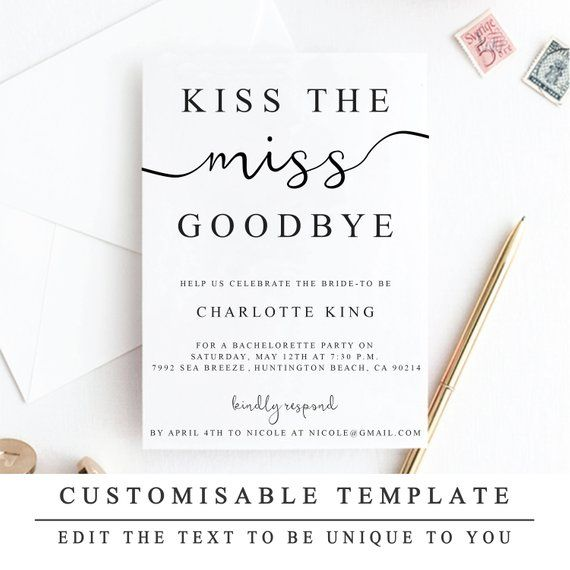 Diy Kiss The Miss Goodbye Bachelorette Party Invitation Print At Home Hen Party Invite Customizable Bridal Shower Invitation Template 5x7 Customizable Bridal Shower Invitations Hens Party Invitations Bridal Shower Invitations Templates