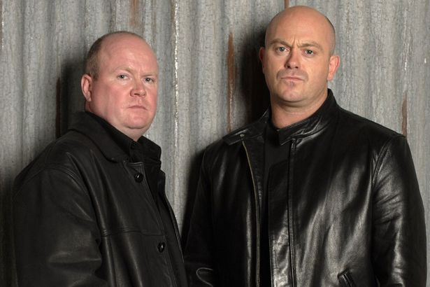 Steve McFadden and Ross Kemp as the Mitchell brothers Phil and Grant.