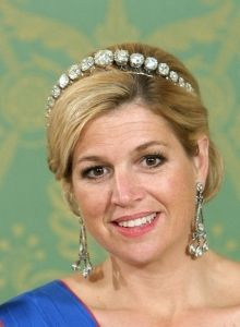 HM Queen Maxima of the Netherlands wearing the rose cut diamond bandeau and her diamond chandelier earrings.