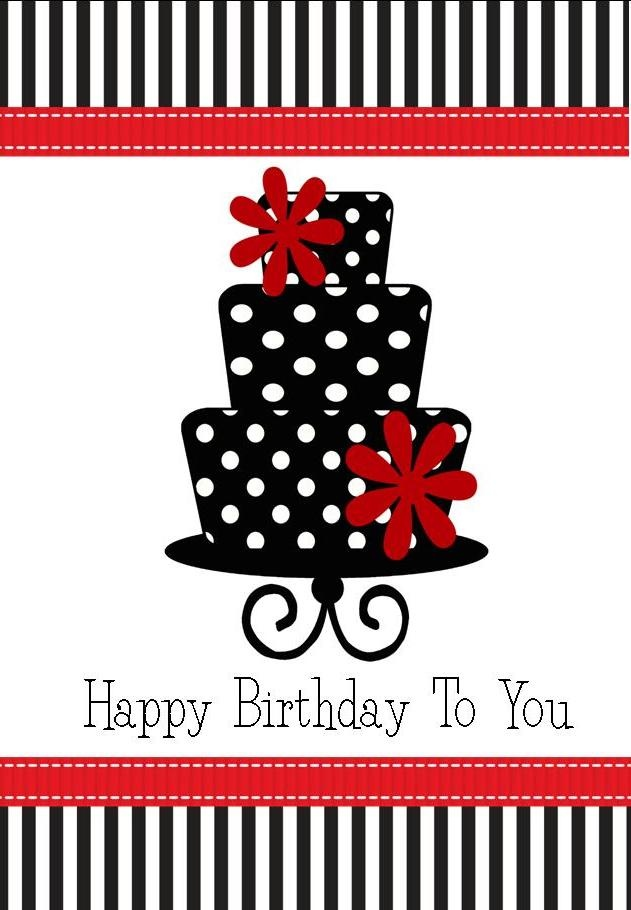 Black and white polka dot birthday cake greeting card available from www.sonniloudesigns.com.au   for just $1.00.