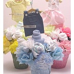 45 best baby bouquet inspirations images on pinterest baby a baby clothes bouquet is a beautiful gift idea awesome presentation can it make a baby shower centerpiece too moms table of course solutioingenieria Image collections