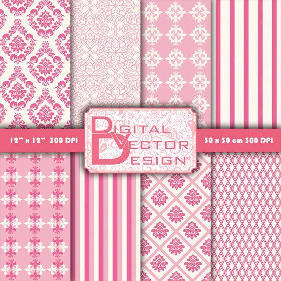 Pink damask digital paper. Pink digital paper pack of pink damask backgrounds patterns clipart, instant download 310
