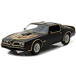 From Smokey & The Bandit! One of the greatest car chase movies of all time! The Bandit's 1977 Trans Am has been re-created to high-octane movie perfection, complete with opening doors, authentic black and gold Bandit graphics, detailed interior, BAN ONE Georgia license plate, and 'screaming chicken' on the hood! Limited edition 1:18 scale vehicle arrives in full color movie-themed packaging for added collectibility.