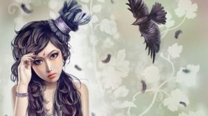 Preview wallpaper girl, hat, bird, crow, flying, feathers 1366x768
