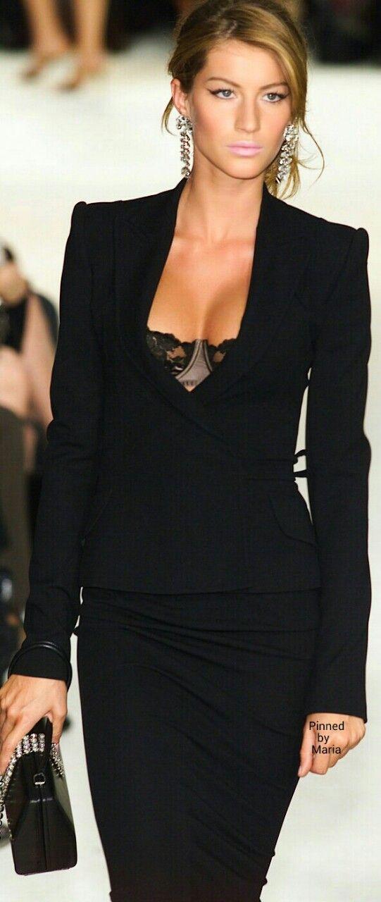 ...to wear only bra under her jacket!