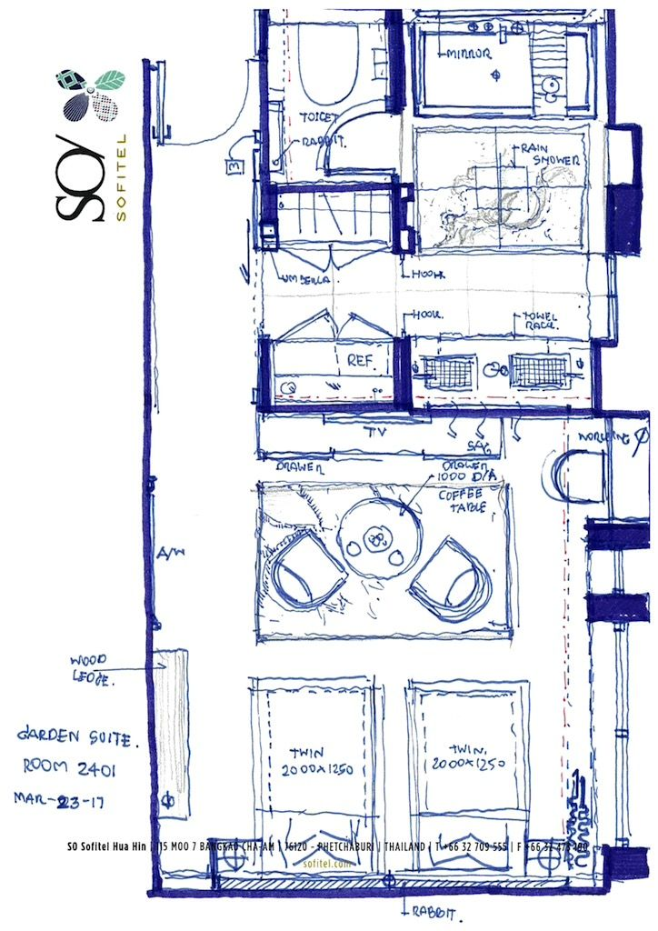 Hotel Room Floor Plan: Sofitel SO Hua Hin