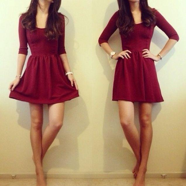 Maroon flirty dress