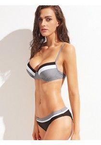 Bikini 2017 Set mit Schleife Hinten Kontrast Streifen