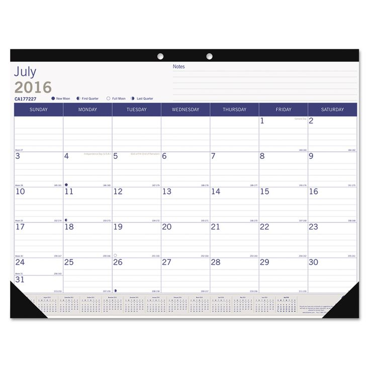 "academic desk pad calendar, 22"" x 17"", white/blue/gray, 2016-2017"