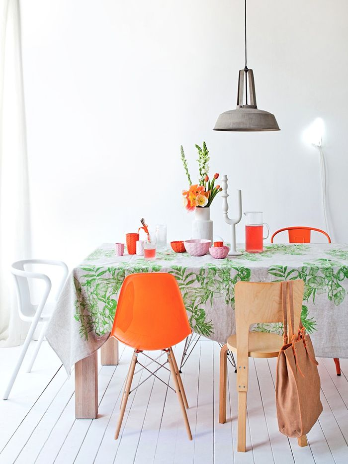 Orange dining chair x8