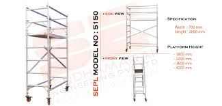 """Mobile scaffold ranging from 1m to 12m high with a rating of 450kg per tower.  Scaffold towers with a fall risk of greater than 4 metres require a qualified scaffold. more search - <a href=""""http://www.sendhamarai.in/scaffolding_manufacturer_bangalore.html """">Industrial Aluminium Scaffolding</a>"""