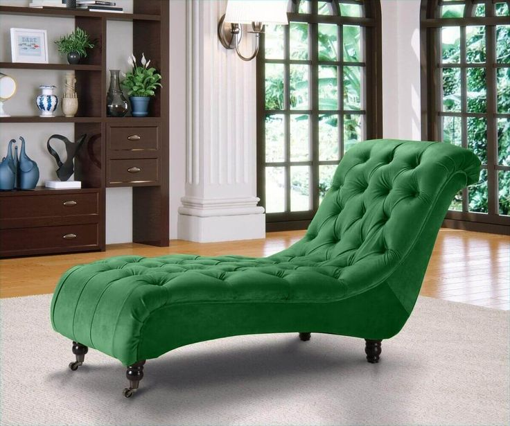 Belmont chesterfield velvet fabric chaise lounge emerald