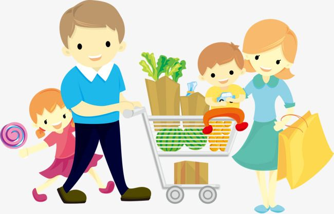Family Grocery Shopping Grocery shop Grocery People illustration