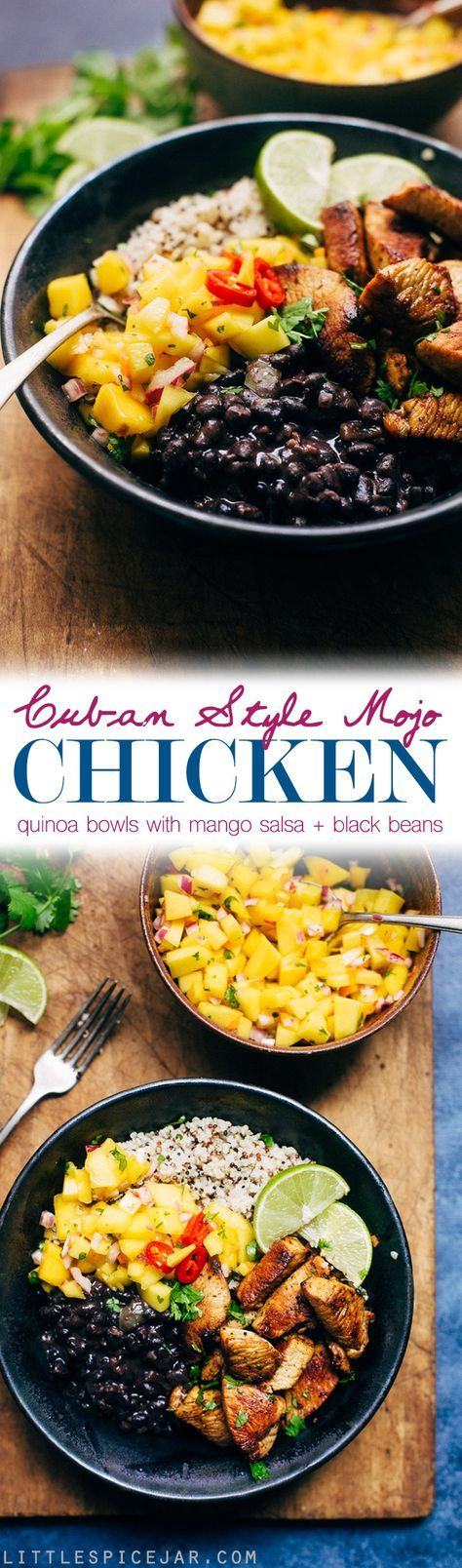 Cuban Mojo Chicken Quinoa Bowls with Mango Salsa and Black Beans - These bowls are bright and flavorful! The perfect quick meal to prep and enjoy all week long! The flavors just get better with time! #cubanchicken #mojochicken #chickenquinoabowls #quinoa | Littlespicejar.com