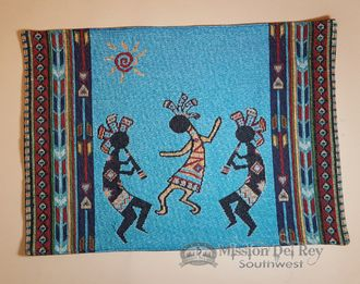 Tapestry Placemat 13x19 -Kokopelli Turquoise (tpm151)