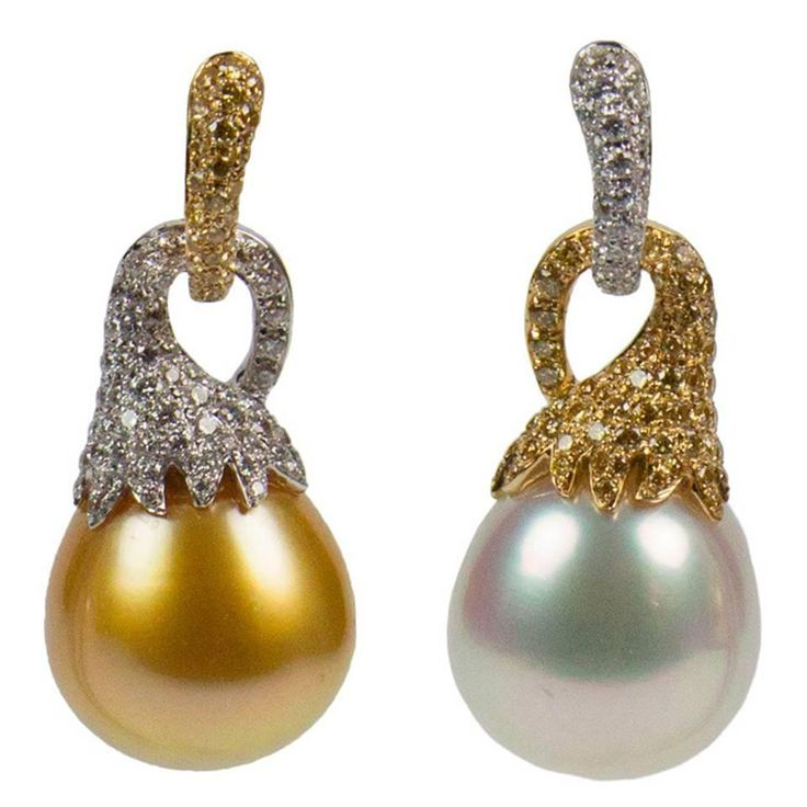 South Sea Pearl Diamond Gold Earrings | From a unique collection of vintage drop earrings at https://www.1stdibs.com/jewelry/earrings/drop-earrings/