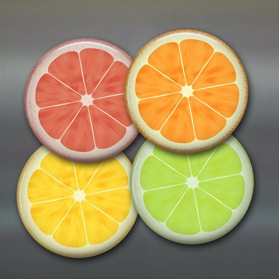 ordinary Citrus Kitchen Decor #8: 3.5 citrus kitchen decor refrigerator Magnets citrus by WallCakes