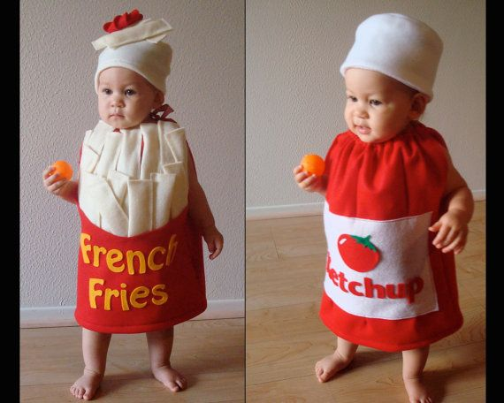 Twin Set- French Fries and Ketchup Bottle Kids Costumes