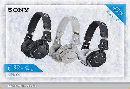 ONLY 39€!!! ONLY today!  Recordcase.de Christmas Special  Sony MDR V-55  Available here: http://www.recordcase.de/en/SONY+MDR-V55+DJ+black-blue,i1.htm?pid=Google-Ehlen
