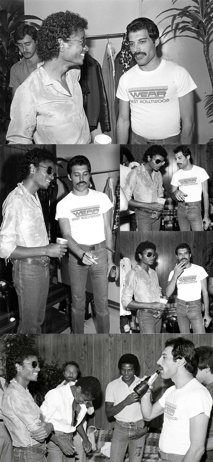 Michael Jackson and Freddie Mercury ;) 2 geniuses! ... My all-time favorite artist/humanitarian/human being King of Pop, Rock and Soul ;) with vocalist of my favorite band (Queen) together at a friendly atmosphere. I love these pics! - Cuteness in black and white ღ @carlamartinsmj