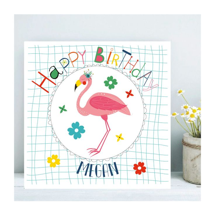 Personalised Florence The Flamingo Birthday Card