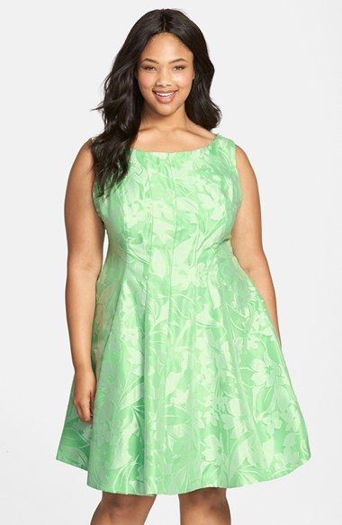 Gabby Skye Floral Organza Fit & Flare Dress (Plus Size) available at #Nordstrom