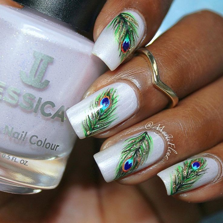 Peacock nail art by Mystic Fleur using Custom Colour in Angelic Lavender