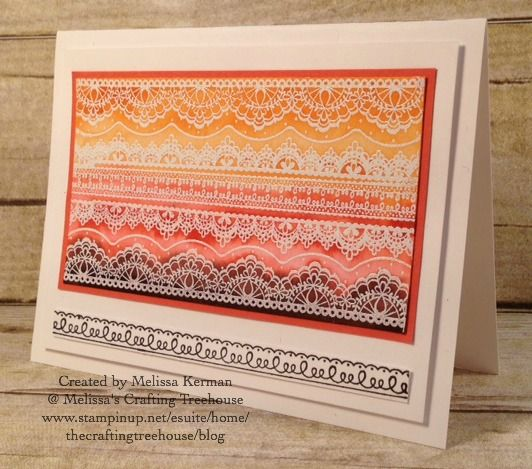 Card for Color Fusers Blog Hop... made with the Delicate Details Sale-A-Bration Stamp Set by Stampin' Up! Created by Melissa Kerman at Melissa's Crafting Treehouse.