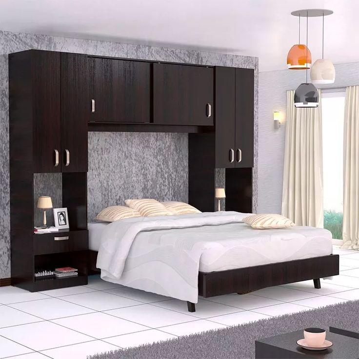 combo dormitorio cama closet y mesas de noche maderkit 01163