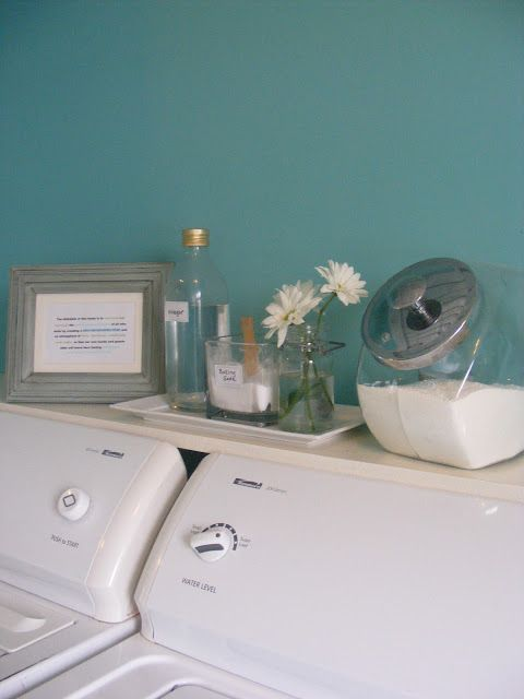 A small shelf behind your washer and dryer allows your cleaning products to be within reach and keeps those pesky socks from falling behind your washer and dryer.